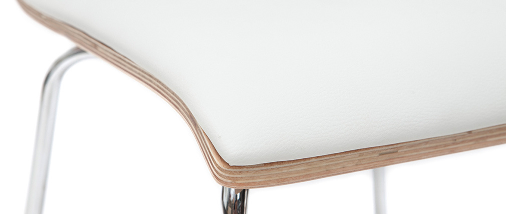Gruppo di 2 sedie bianco e legno chiaro con piedi metallo DELICACY