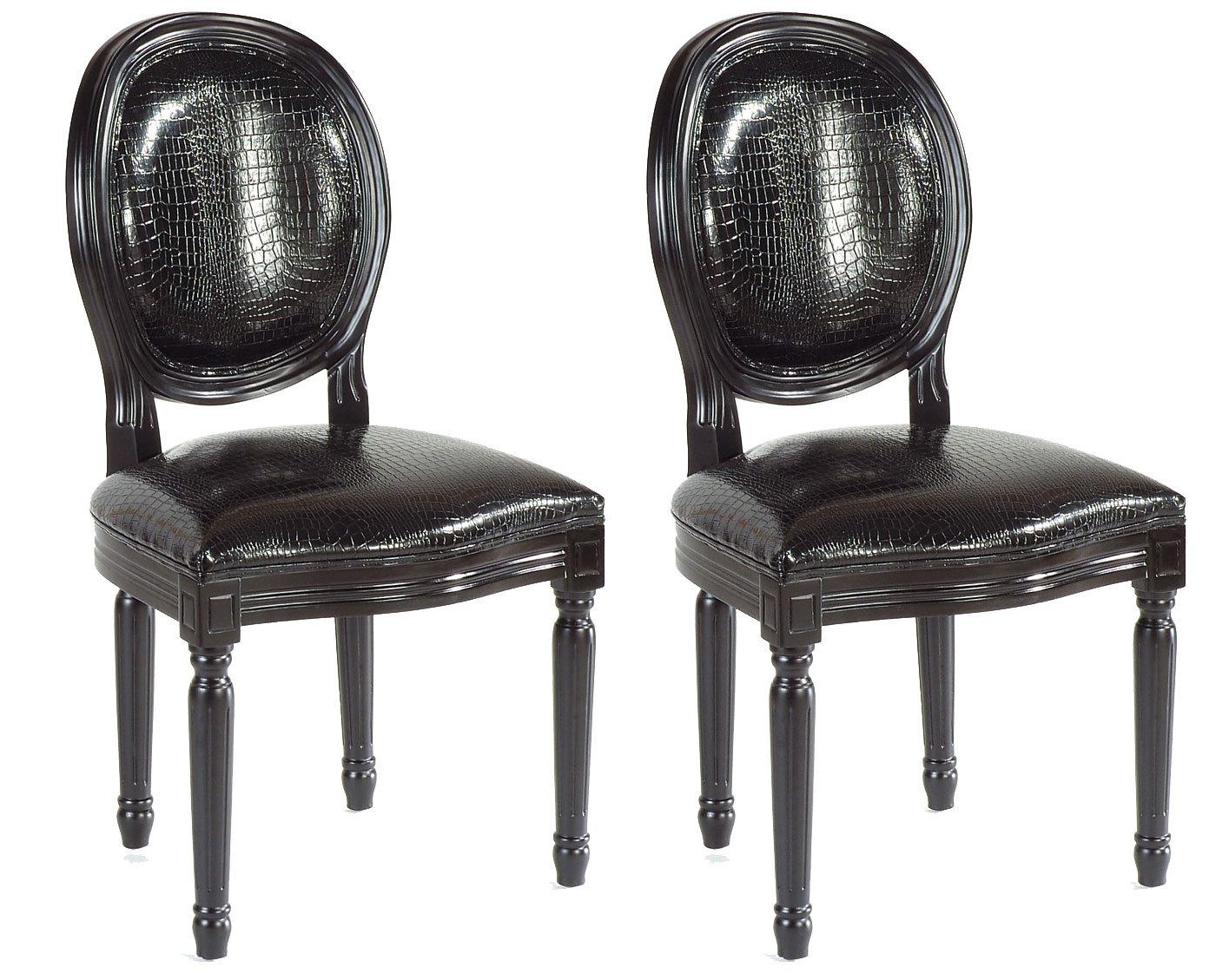 Gruppo Di 2 Sedie Da Cucina/ Sala Da Pranzo MEDAILLON Nere Miliboo #585250 1400 1129 Sedie Sala Da Pranzo Ikea