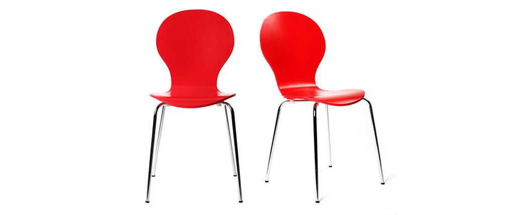 Gruppo di 2 sedie design color rosso NEW ABIGAIL