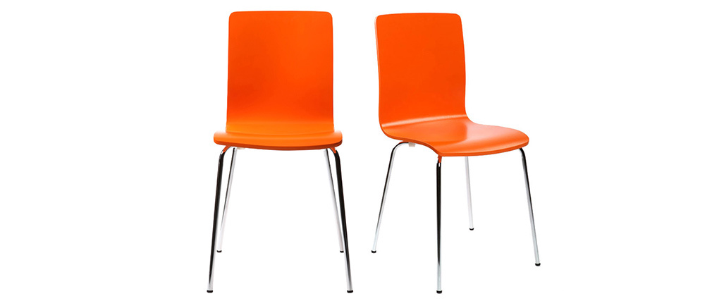 Gruppo di 2 sedie design colore arancione NELLY