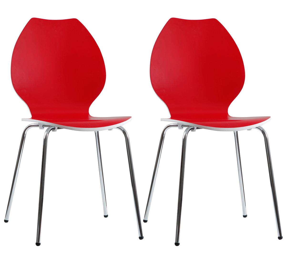 Gruppo di 2 sedie design da cucina rosse/bianche AVA
