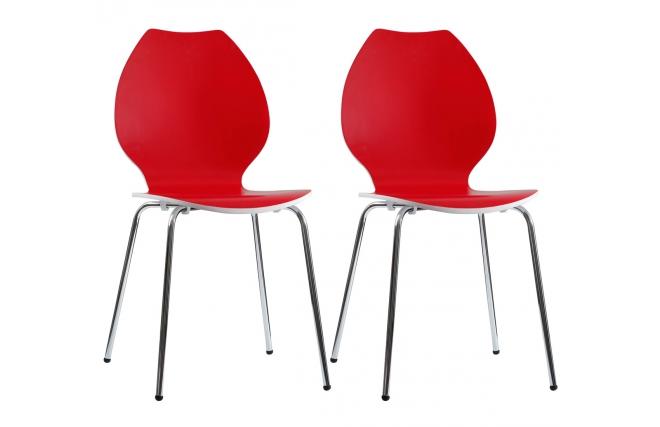 Gruppo di 2 sedie design da cucina rosse bianche ava miliboo for Sedie rosse cucina