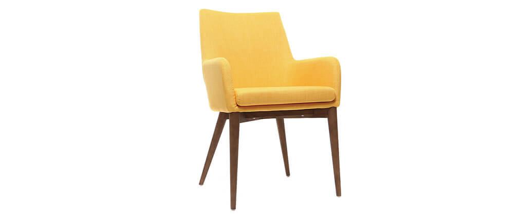 Gruppo di 2 sedie Design giallo gambe legno scuro - SHANA