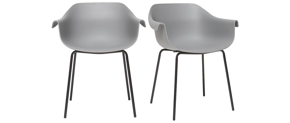 Gruppo di 2 sedie design grigio e nero COUTURE