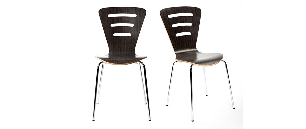 Gruppo di 2 sedie design in legno nero LENA