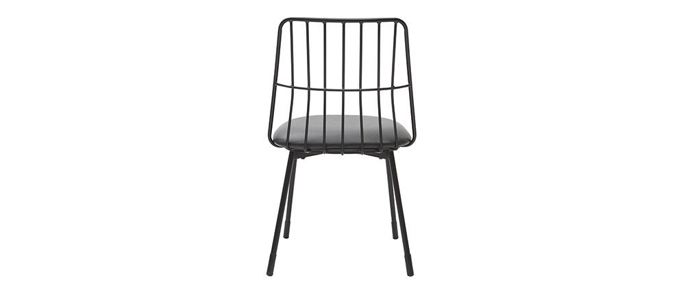 Gruppo di 2 sedie design in metallo nero con cuscino GRID