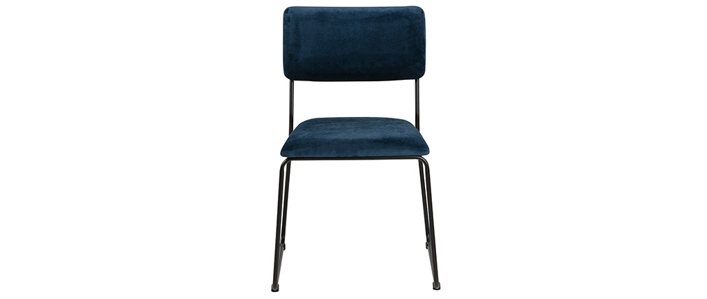 Gruppo di 2 sedie design in velluto blu notte e metallo FLORE