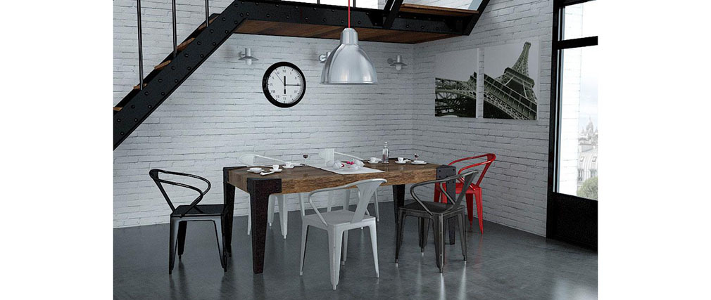 Gruppo di 2 sedie design industriali bianche factory   miliboo