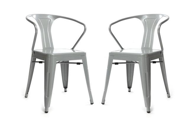 Gruppo di 2 sedie design industriali grigie factory miliboo for Sedie design grigie