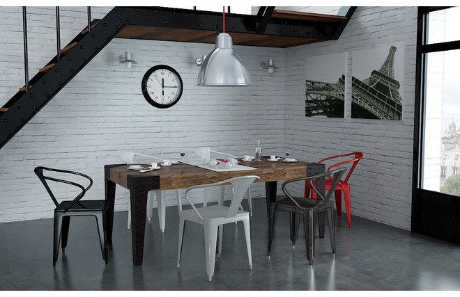 Gruppo di 2 sedie design industriali grigie factory miliboo for Sedie moderne grigie