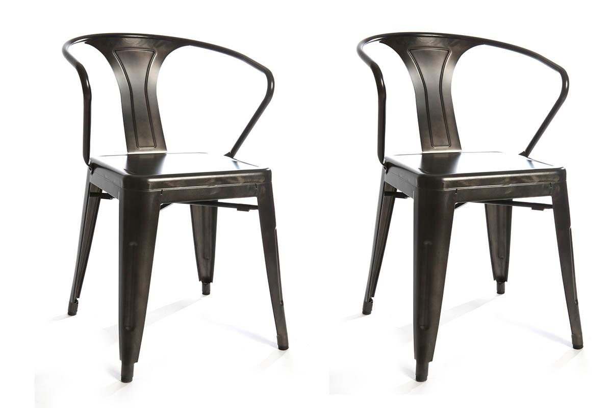 Gruppo di 2 sedie design industriali metallo effetto inox for Sedie design metallo