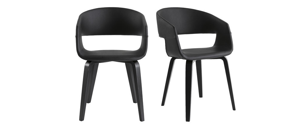 Gruppo di 2 sedie design nere piedi legno SLAM