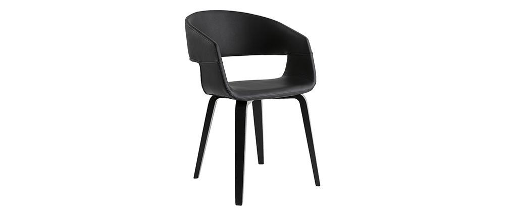 Gruppo di 2 sedie design nere piedi legno SLAM - Miliboo