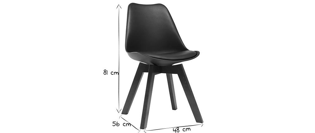 Gruppo di 2 sedie design nero e noce PAULINE