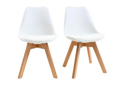 Sedie Bianche E Acciaio.Gruppo Di 2 Sedie Design Piede Legno Seduta Bianca Pauline