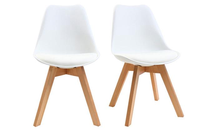Sedie Bianche Design : Gruppo di sedie design piede legno seduta bianca pauline miliboo