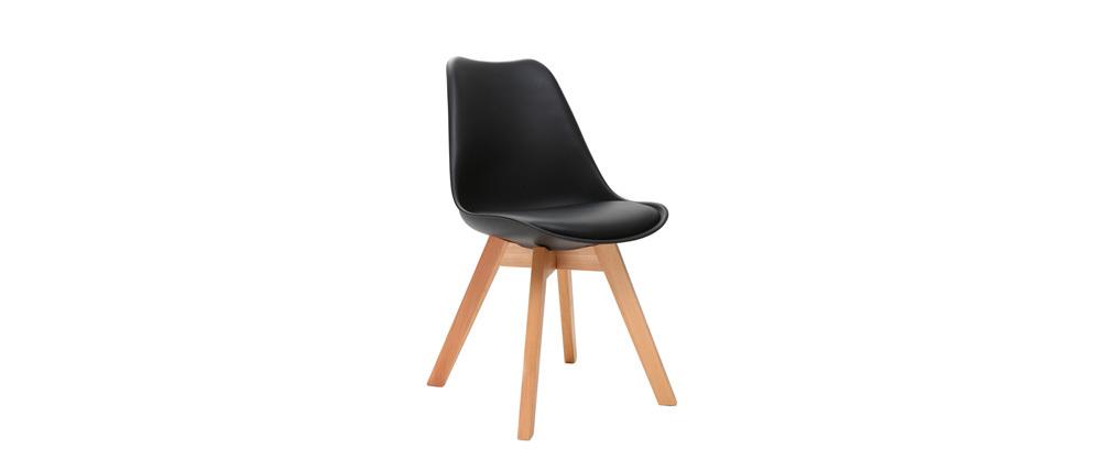 Gruppo di 2 sedie design piede legno seduta nera PAULINE