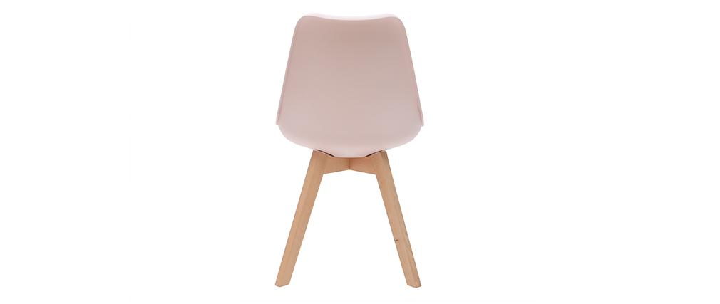 Gruppo di 2 sedie design piede legno seduta rosa PAULINE