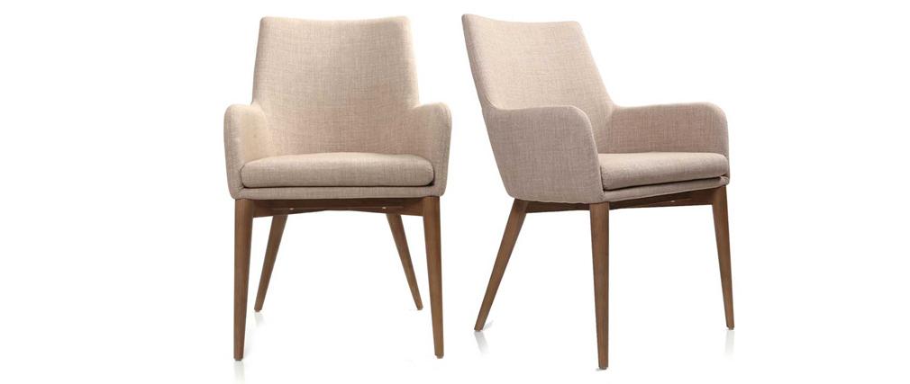 Gruppo di 2 sedie design poliestere beige SHANA