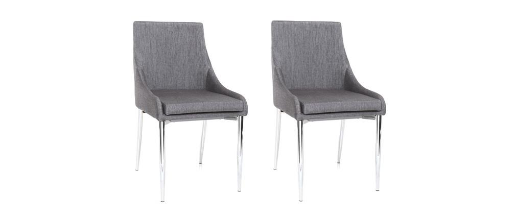 gruppo di 2 sedie design poliestere grigie botia miliboo