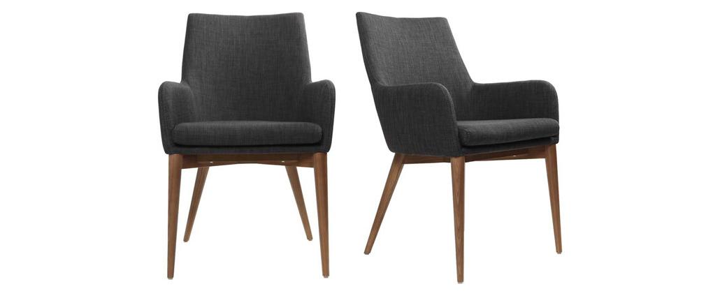 Gruppo di 2 sedie design poliestere grigio antracite SHANA