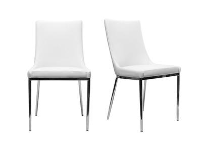 Sedie Bianche E Acciaio.Gruppo Di 2 Sedie Design Poliuretano Bianco E Acciaio Cromato Ira
