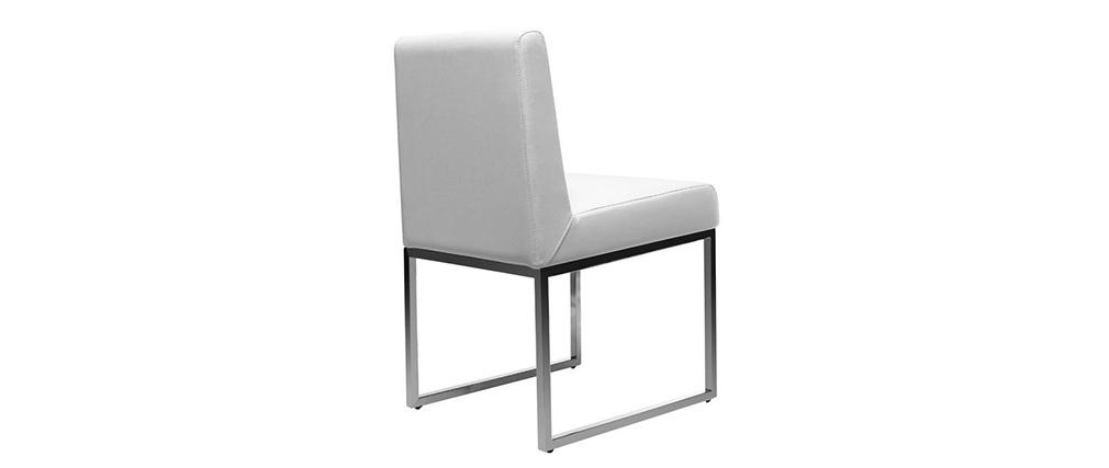 Gruppo di 2 sedie design poliuretano bianco e acciaio cromato JUNIA