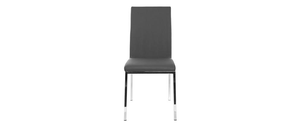 Gruppo di 2 sedie design poliuretano grigio chiaro SIMEA