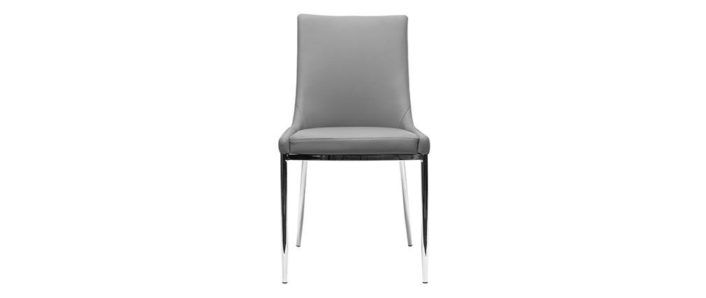 Gruppo di 2 sedie design poliuretano grigio e acciaio cromato IRA