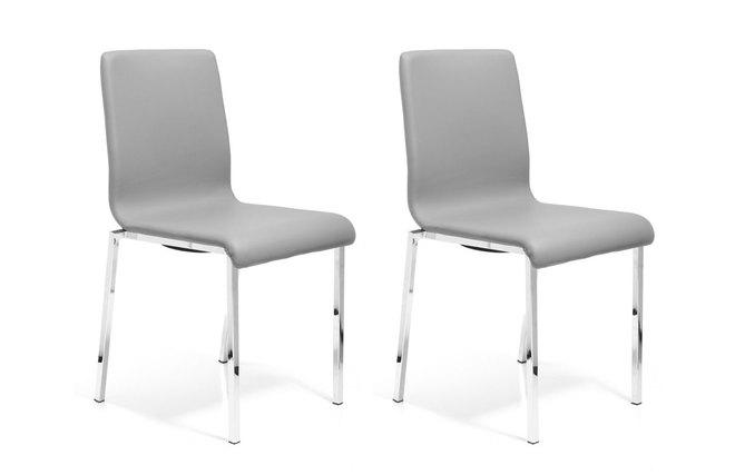 Gruppo di 2 sedie design pvc grigio e acciaio cromato mady for Sedie pvc design
