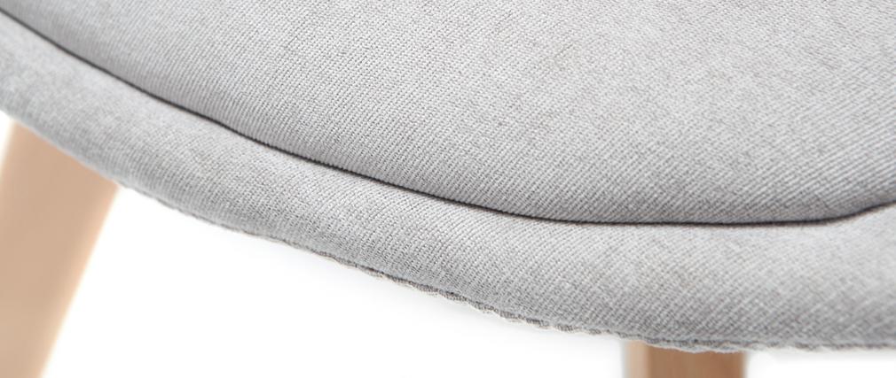 Gruppo di 2 sedie design scandinave legno e tessuto grigio chiaro MATILDE