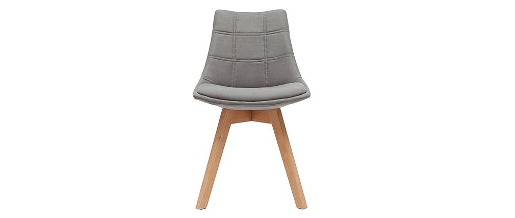 Gruppo di 2 sedie design scandinave legno e tessuto grigio scuro MATILDE