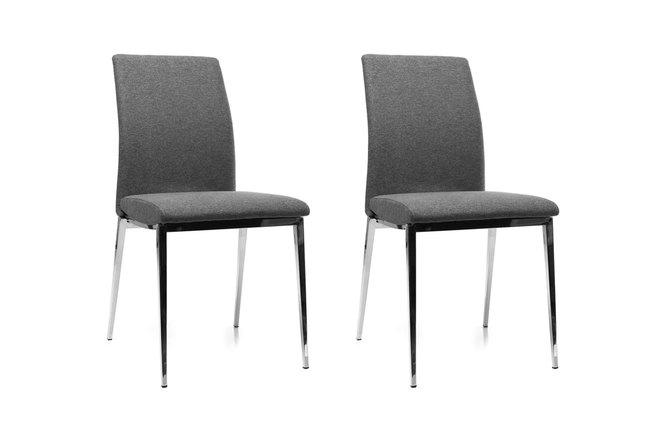 Gruppo di 2 sedie design seduta poliestere grigio scuro e for Sedie design grigie