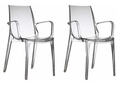 Gruppo di 2 sedie design trasparenti AERIAL