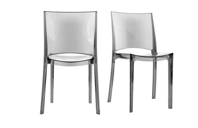Gruppo di 2 sedie design trasparenti grigie kalya   miliboo