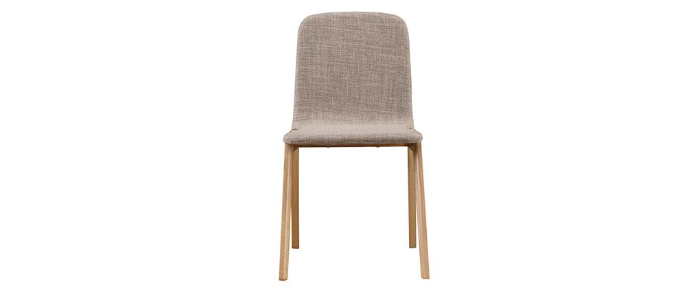 Gruppo di 2 sedie - hevea e tessuto grigio chiaro AVA