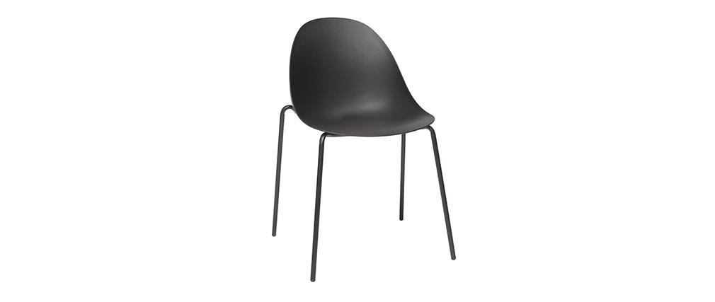 Gruppo di 2 sedie impilabili design nere piedi metallo for Sedie nere moderne