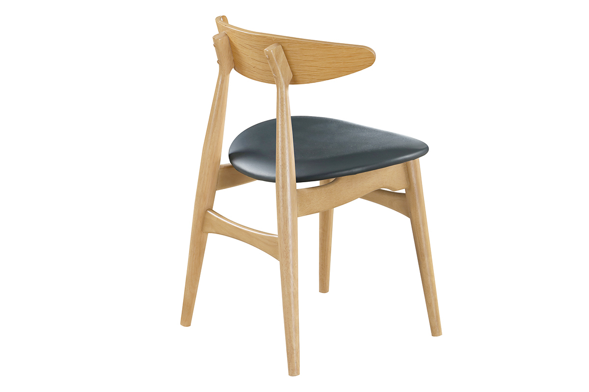 Gruppo di 2 sedie in legno chiaro e PU nero design