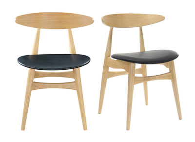 Sedie Moderne Legno E Acciaio.Gruppo Di 2 Sedie In Legno Chiaro E Pu Nero Design Scandinavo Giapponese Walford