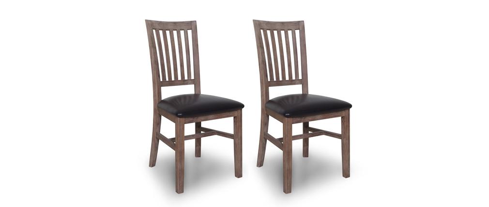 Gruppo di 2 sedie in legno tinte colore grigio sauvage   miliboo