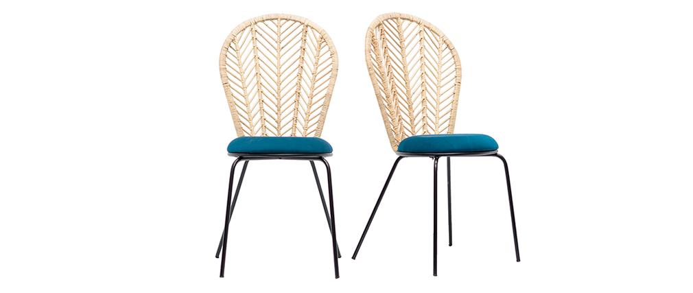 Gruppo di 2 sedie in rattan e tessuto blu petrolio PEACOCK