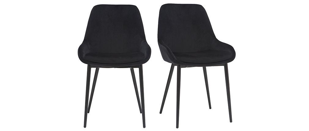 Gruppo di 2 sedie in tessuto grigio chiaro HOLO