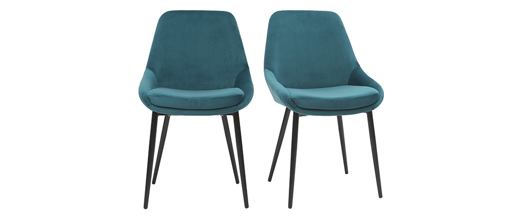 Gruppo di 2 sedie in velluto blu petrolio HOLO