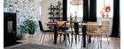 Gruppo di 2 sedie industriali in metallo nero e legno JAKE