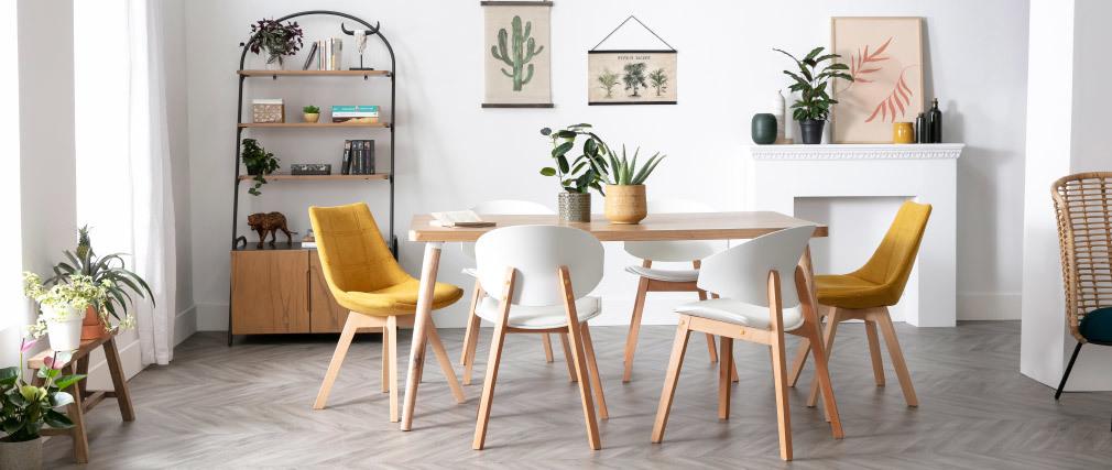 Gruppo di 2 sedie scandinave bianche e legno chiaro BLOEM