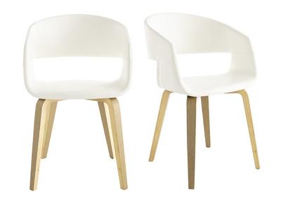 Gruppo di 2 sedie scandinave bianco e legno SLAM
