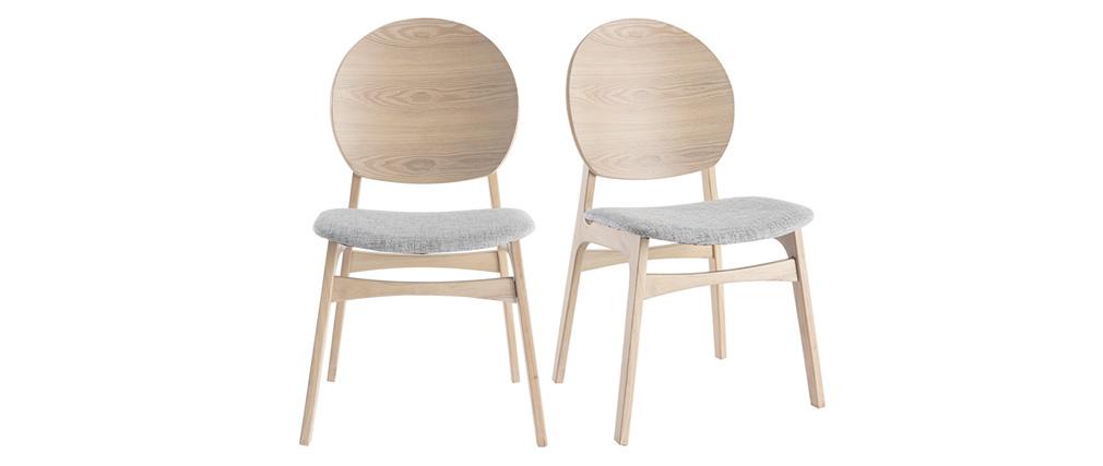Gruppo di 2 sedie scandinave in legno chiaro e tessuto grigio ELTON