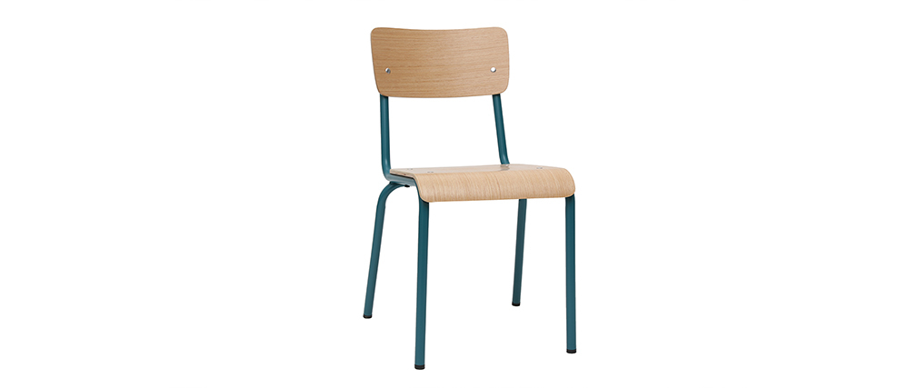 Gruppo di 2 sedie scolastiche impilabili in metallo blu anatra e legno chiaro SCHOOL