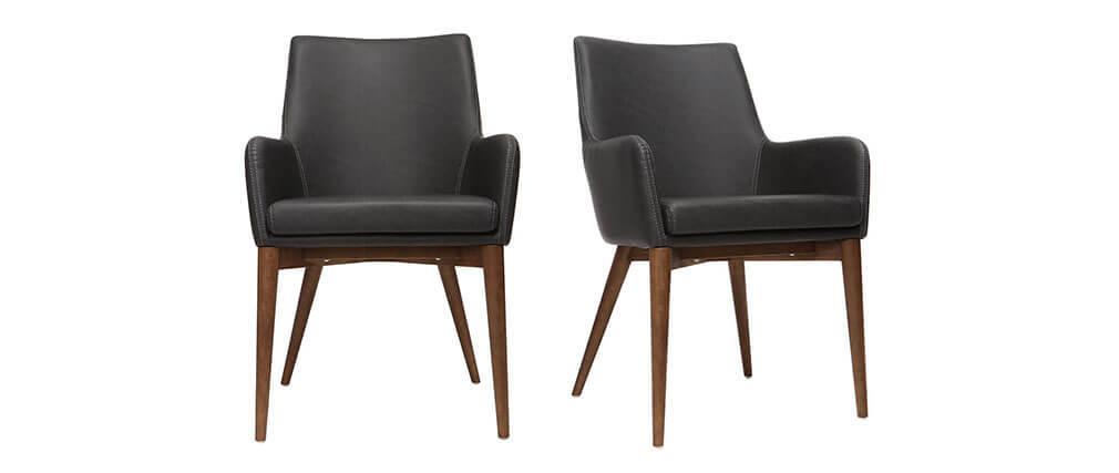 Gruppo di 2 sedie vintage PU nero e legno SHANA