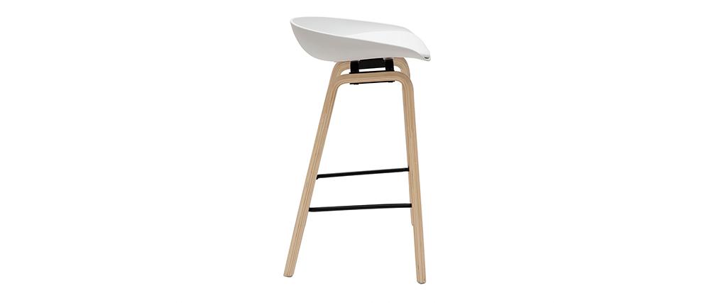 Gruppo di 2 sgabelli da bar bianchi e piedi in legno 65 cm LINO